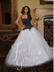 Discount 2014 Gorgeous White and Black Quinceanera Gowns with Beading HOWF025