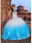 Discount 2015 New Arrival  Sweetheart White and Blue Sweet 15 Dress with Beading and Ruffles DVCI038