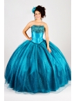 Discount 2015 New Style Appliques Strapless Teal Quinceanera Dresses QUML002