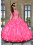 Discount Exquisite Beading and Ruffles Hot Pink Quinceanera Dress For 2015 DVCI032