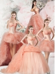 Discount 2015 Edgy Beading and Ruffles Pink Quinceanera Dress ZHQD014