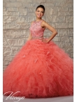 Discount Beautiful Beading and Ruffles Quinceanera Dress in Coral Red for 2015 MRLE006