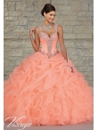 Discount Customize Beading and Appliques Orange Red Sweet 15 Dresses for 2015 MRLE003
