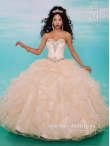 Discount Elegant Champagne Quinceanera Dresses with Ruffles and Beading MRSY038