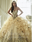 Discount Gorgeous Beaded and Ruffled Champagne Quinceanera Dress with Brush Train