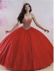 Discount Feminine Beaded and Sequined Red Quinceanera Dress with Puffy Skirt MSRY008